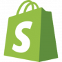 Shopify logo, green shopping bag