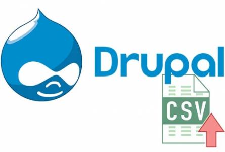 Drupal 8 logo and one CVS sheet next to it with arrow symbolizing upload/import