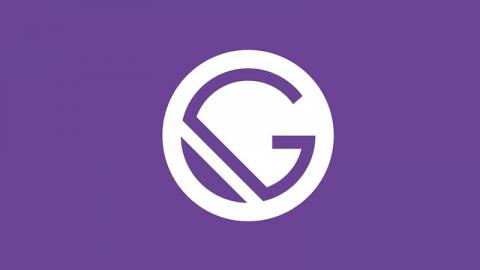 GatsbyJS logo in purple color with capital G in the middle