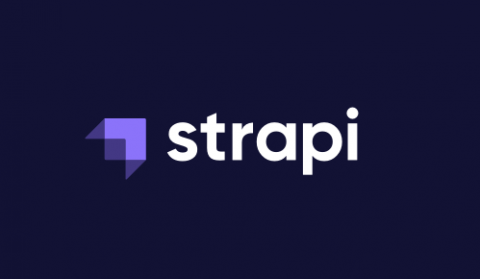 Strapi logo in purple rectangle